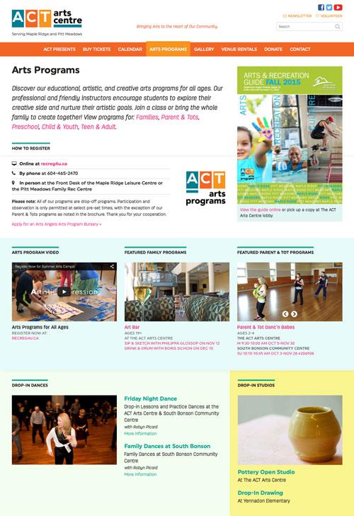 Arts Programs page