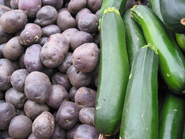 Washington purple potatoes and local field cucumbers