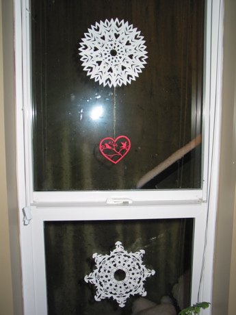 Paper snowflakes and heart
