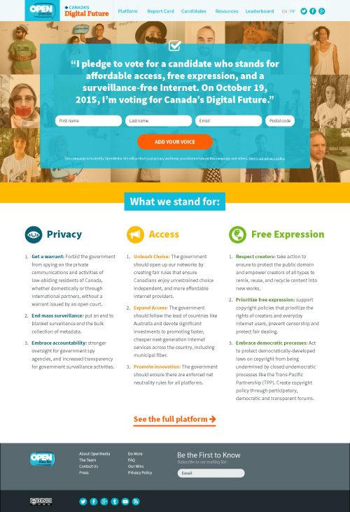 Canada's Digital Future, homepage