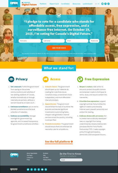 Canada's Digital Future, homepage