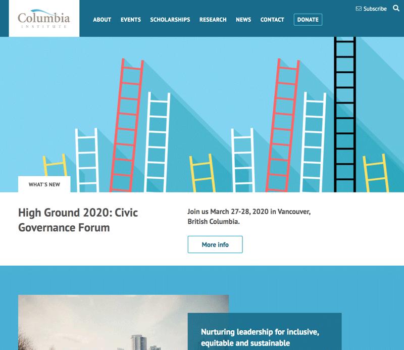 Columbia Institute website design