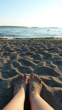 My feet on the beach