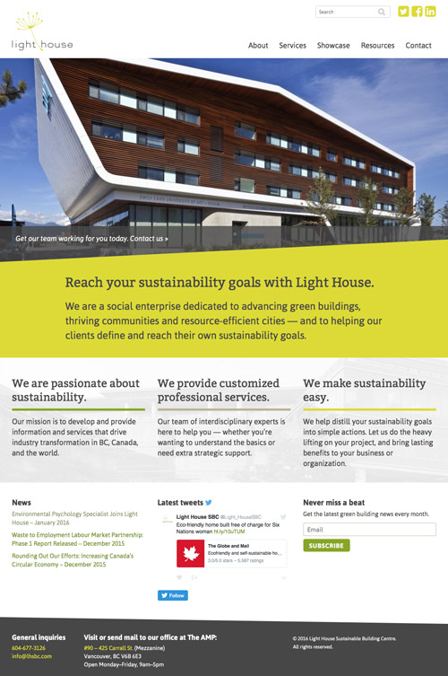 Light House Sustainable Building Centre homepage