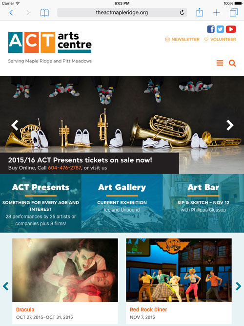 ACT homepage on iPad