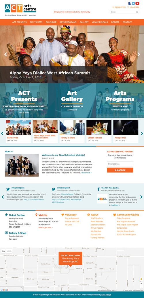The ACT Arts Centre homepage