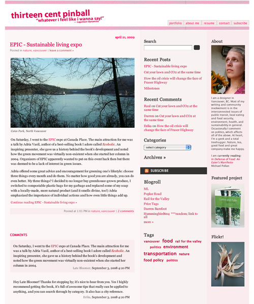 Previous blog design
