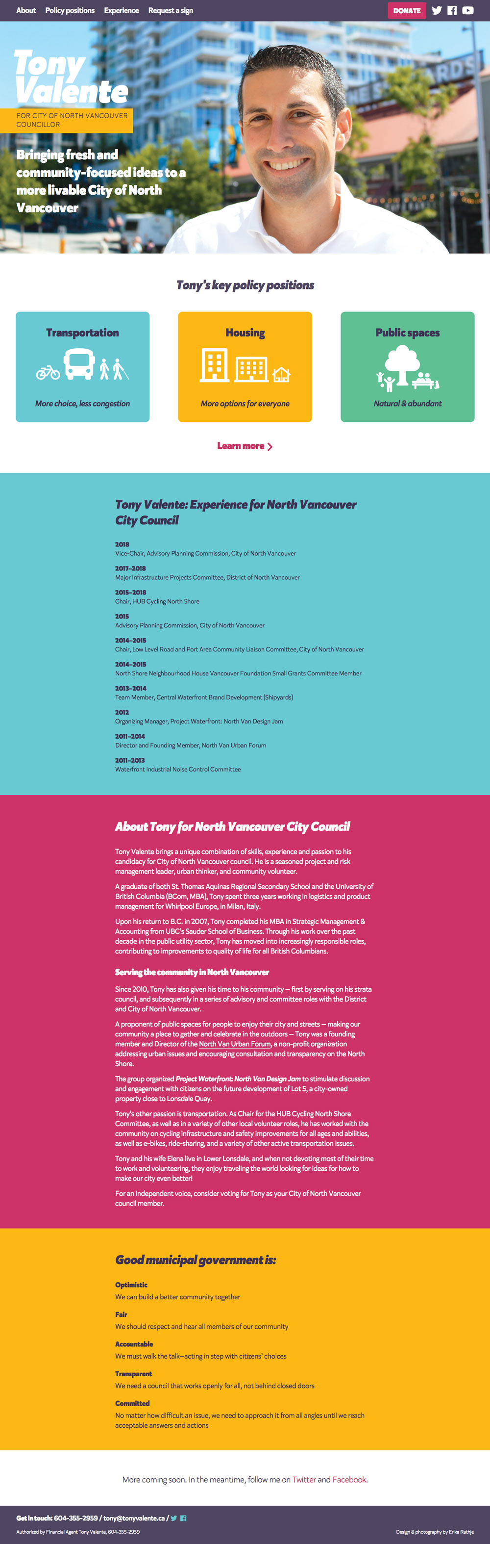 Tony Valente homepage