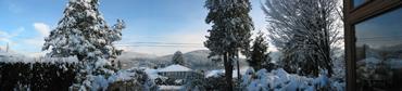 Sunlit snow in Belcarra - panorama